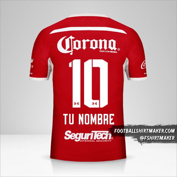 Jersey Toluca FC 2018/19 número 10 tu nombre