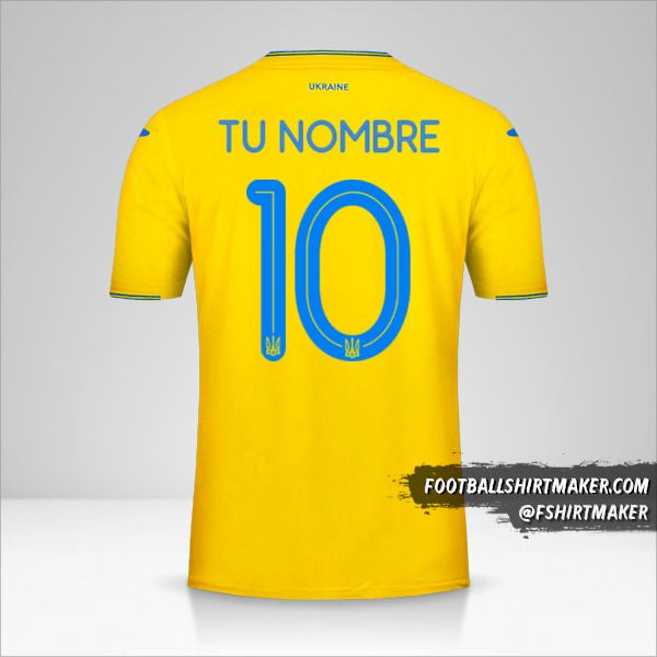 Jersey Ucrania 2018/19 número 10 tu nombre