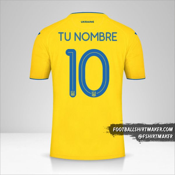Jersey Ucrania 2020 número 10 tu nombre