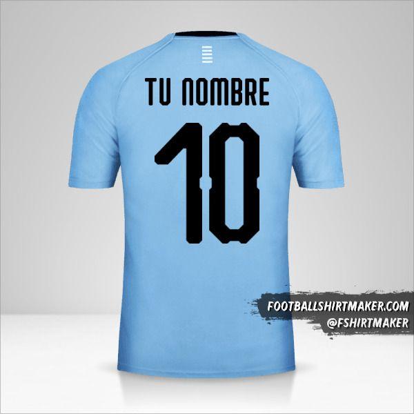 Jersey Uruguay 2018 número 10 tu nombre