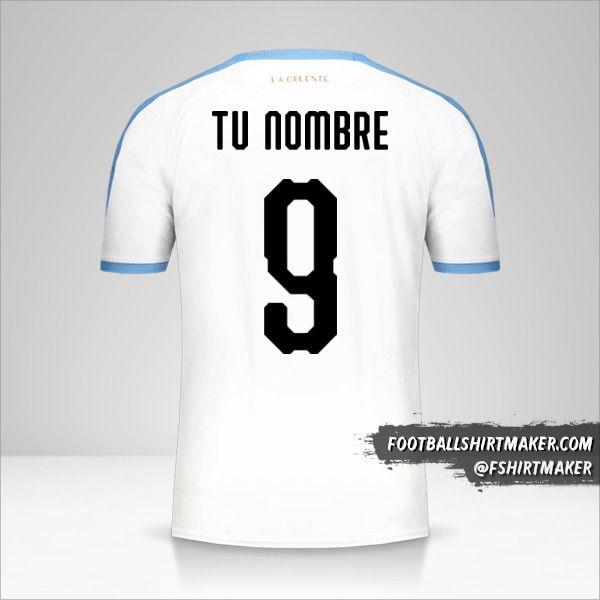 Jersey Uruguay Copa América 2019 II número 9 tu nombre