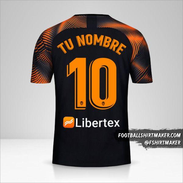 Jersey Valencia CF 2019/20 II número 10 tu nombre