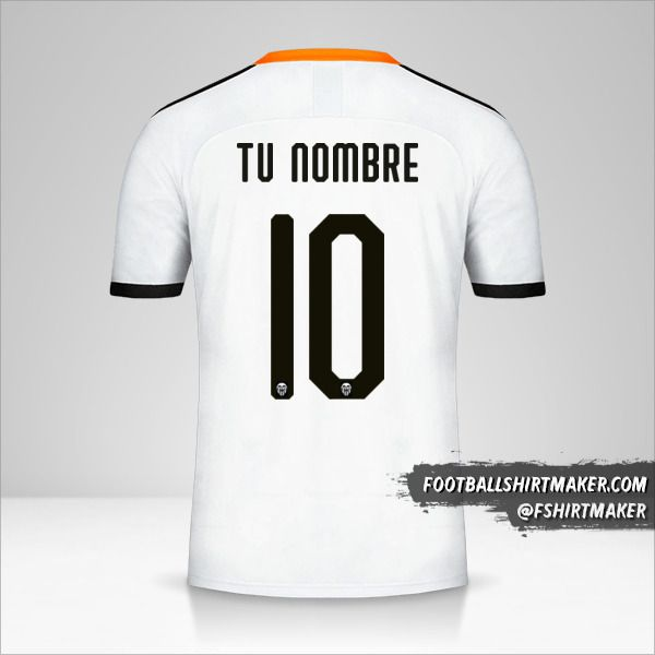Jersey Valencia CF 2019/20 Cup número 10 tu nombre