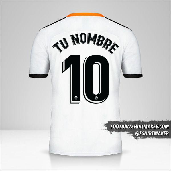 Jersey Valencia CF 2019/20 número 10 tu nombre