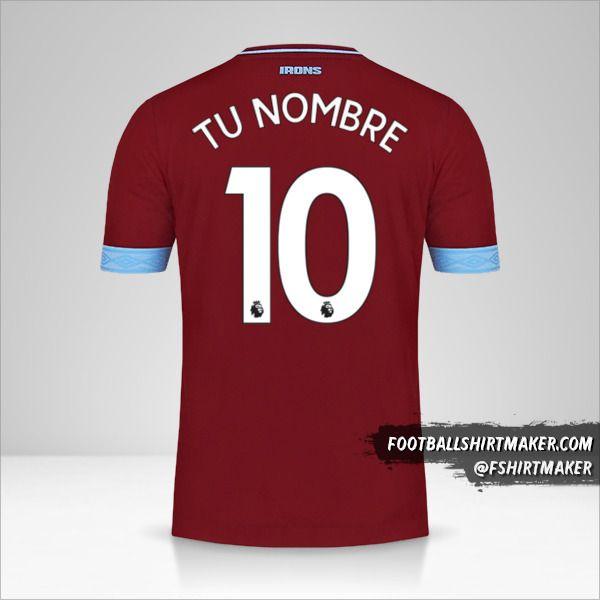 Jersey West Ham United FC 2018/19 número 10 tu nombre