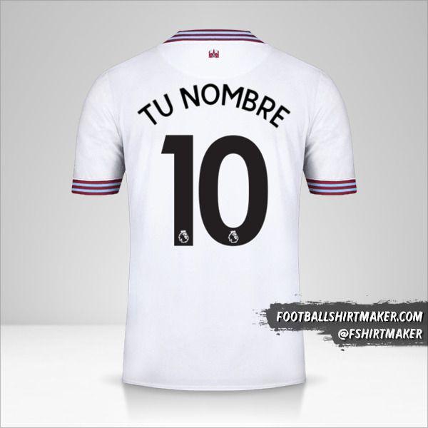 Jersey West Ham United FC 2019/20 II número 10 tu nombre