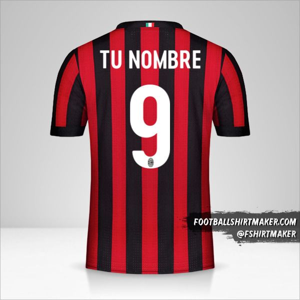 Camiseta AC Milan 2017/18 número 9 tu nombre
