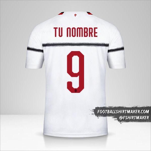 Camiseta AC Milan 2018/19 II número 9 tu nombre