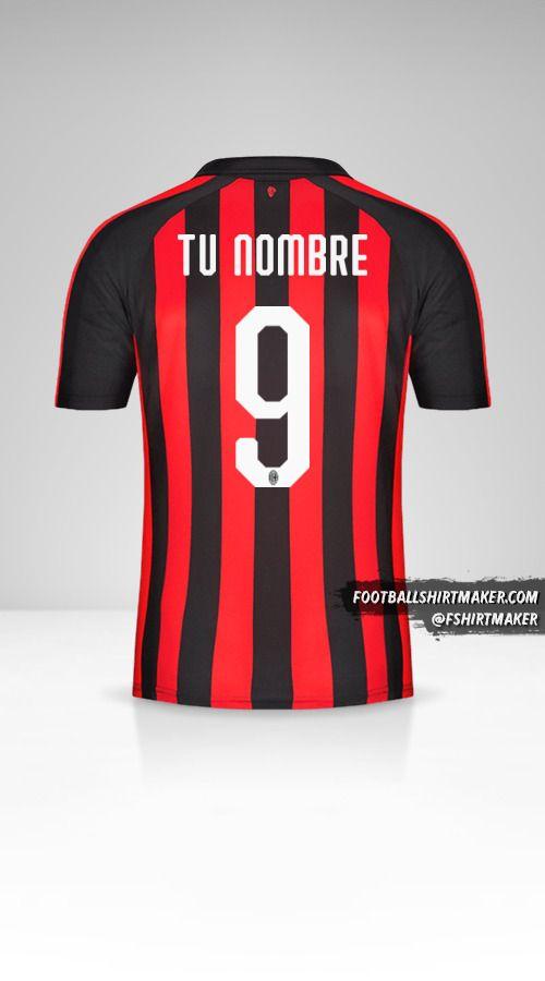 Camiseta AC Milan 2018/19 número 9 tu nombre
