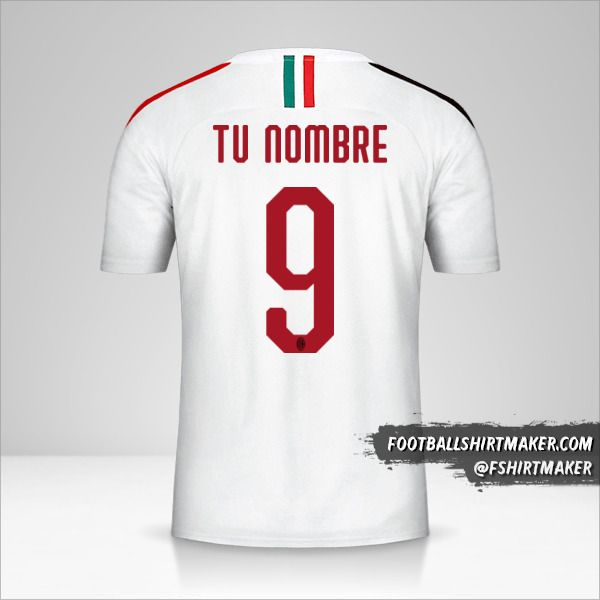 Camiseta AC Milan 2019/20 II número 9 tu nombre