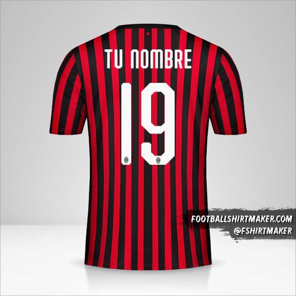 camiseta AC Milan 2019/20 número 19 tu nombre