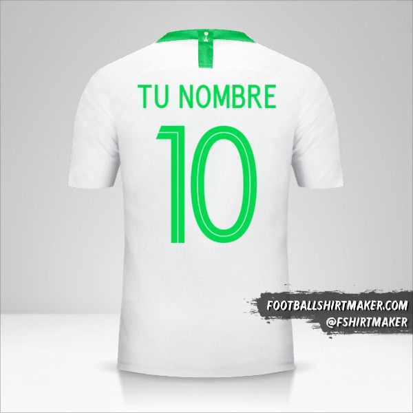 camiseta Arabia Saudita 2018 número 10 tu nombre