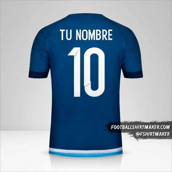 Camiseta Argentina 2016 II número 10 tu nombre