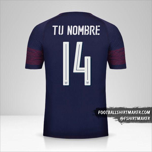 Camiseta Arsenal 2018/19 Cup II número 14 tu nombre