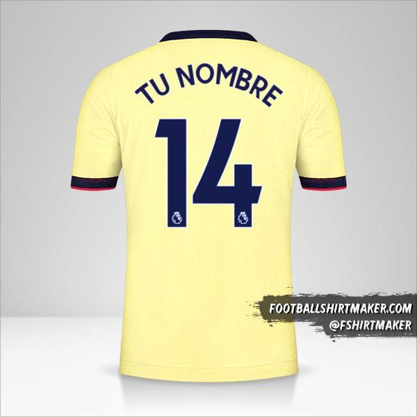 Camiseta Arsenal 2021/2022 II número 14 tu nombre