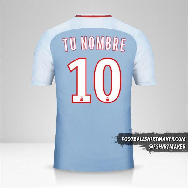 Camiseta As Monaco 2017/18 II número 10 tu nombre