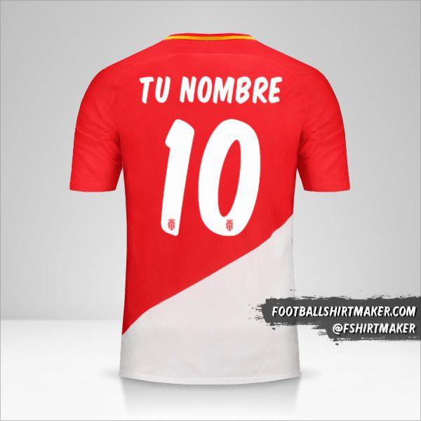 Camiseta As Monaco 2017/18 Cup número 10 tu nombre