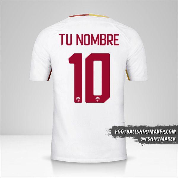 Camiseta AS Roma 2017/18 II número 10 tu nombre