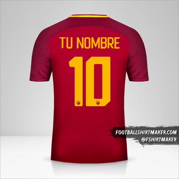 Camiseta AS Roma 2017/18 número 10 tu nombre