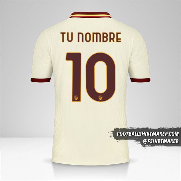 Camiseta AS Roma 2020/21 Cup II número 10 tu nombre