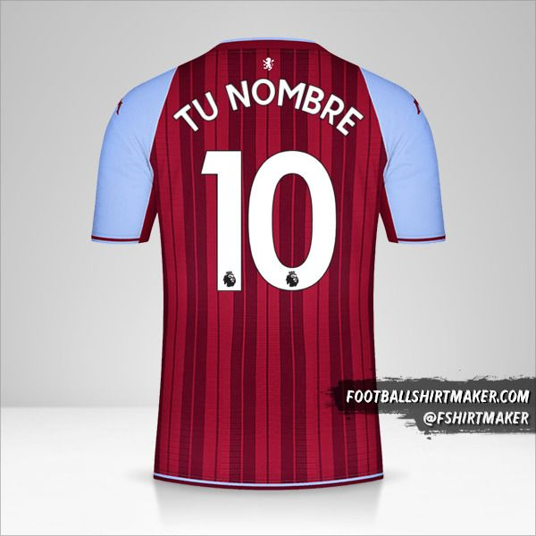 Camiseta Aston Villa FC 2021/2022 número 10 tu nombre