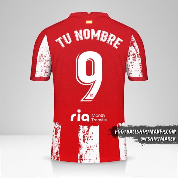 Camiseta Atletico Madrid 2021/2022 número 9 tu nombre