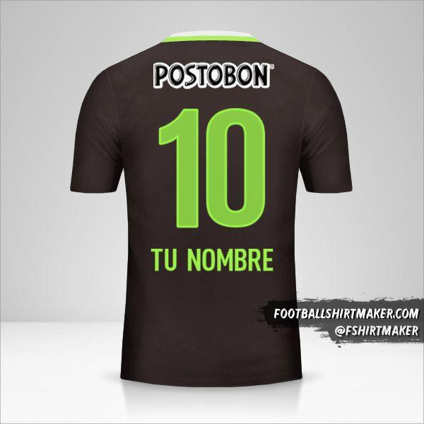 Camiseta Atletico Nacional 2016 II número 10 tu nombre