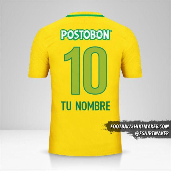 Camiseta Atletico Nacional 2017 II número 10 tu nombre