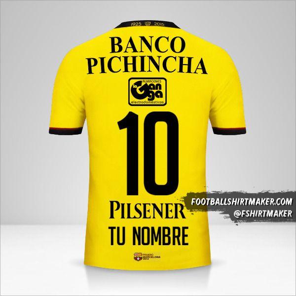 Camiseta Barcelona SC 2015 número 10 tu nombre