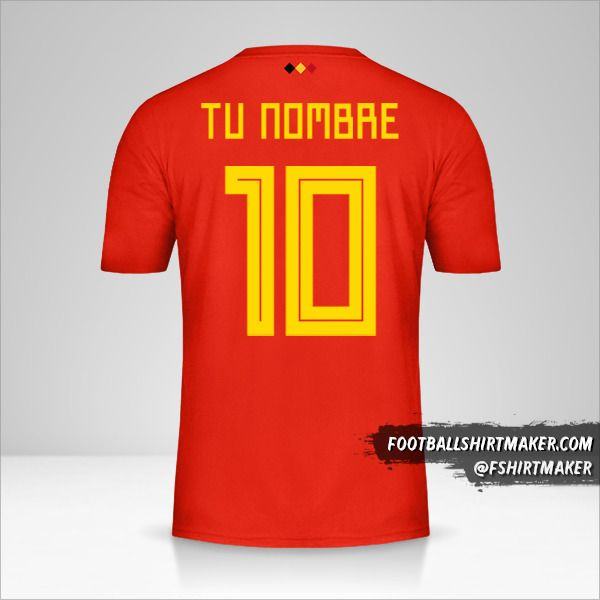 Camiseta Belgica 2018 número 10 tu nombre