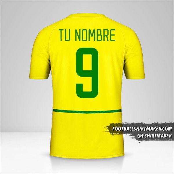 Camiseta Brasil 2002/04 número 9 tu nombre