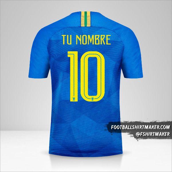 Camiseta Brasil 2018/19 II número 10 tu nombre
