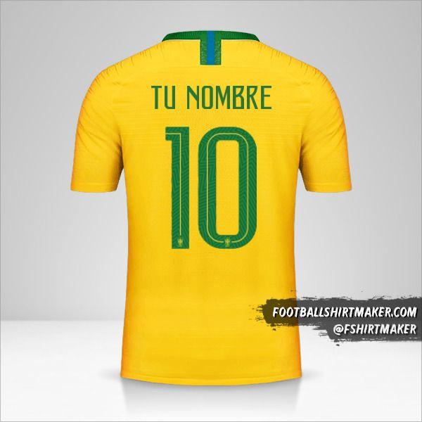 Camiseta Brasil 2018 número 10 tu nombre