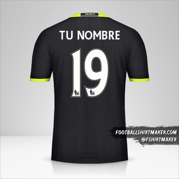 Camiseta Chelsea 2016/17 II número 19 tu nombre
