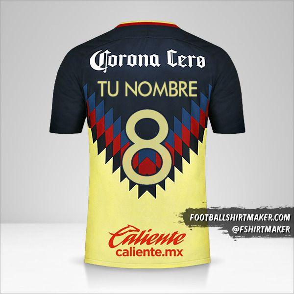 Camiseta Club America 2017/18 número 8 tu nombre