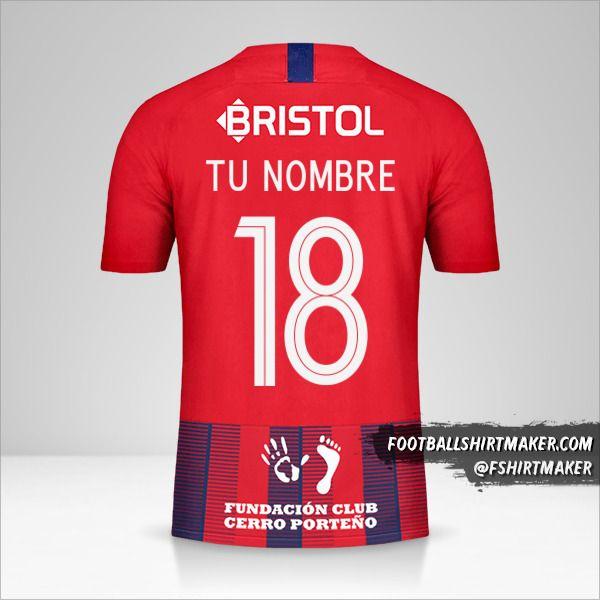 Camiseta Club Cerro Porteño Libertadores 2019 número 18 tu nombre