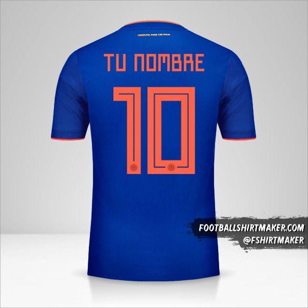Camiseta Colombia 2018 II número 10 tu nombre