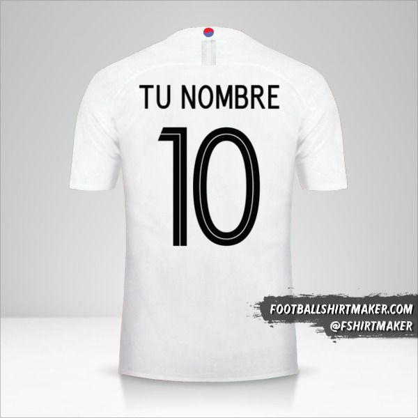 Camiseta Corea del Sur 2018 II número 10 tu nombre