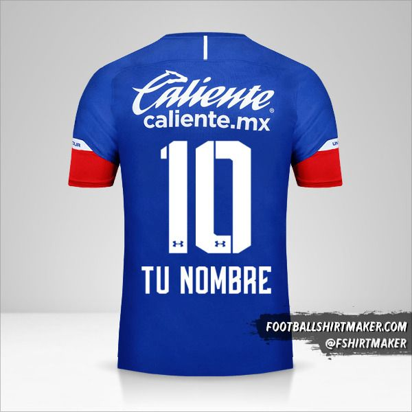 Camiseta Cruz Azul 2018/19 número 10 tu nombre