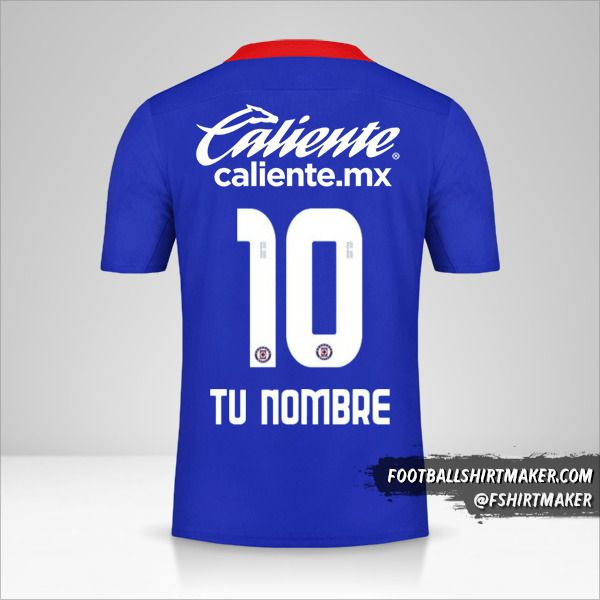 Camiseta Cruz Azul 2020/21 número 10 tu nombre