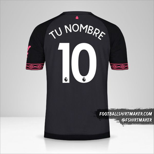 Camiseta Everton FC 2018/19 II número 10 tu nombre