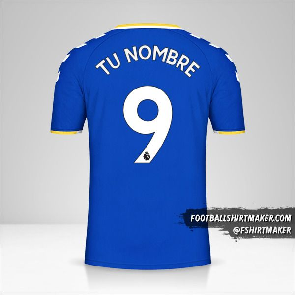Camiseta Everton FC 2021/2022 número 9 tu nombre