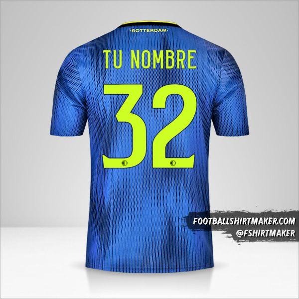 Camiseta Feyenoord Rotterdam 2019/20 II número 32 tu nombre