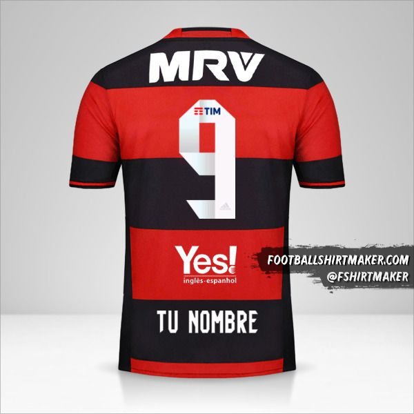 Camiseta Flamengo 2016/17 número 9 tu nombre