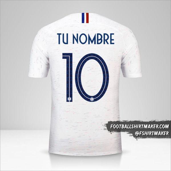 Camiseta Francia 2018 II número 10 tu nombre
