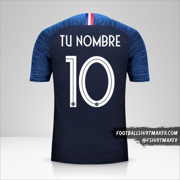 camiseta Francia 2018 número 10 tu nombre