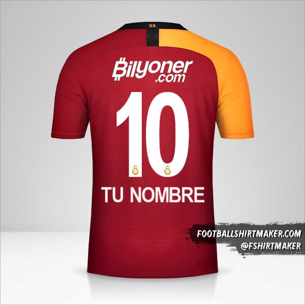 Camiseta Galatasaray SK 2019/20 número 10 tu nombre