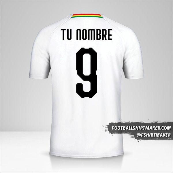 Camiseta Ghana 2018/19 II número 9 tu nombre