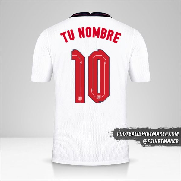 Camiseta Inglaterra 2020/2021 número 10 tu nombre