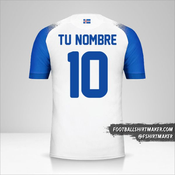 Camiseta Islandia 2018 II número 10 tu nombre